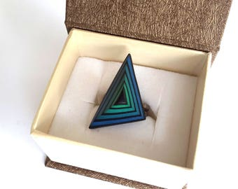 Polymer Clay Ring, Fashion Ring,Triangle Ring, Abstract Ring, Modern Ring