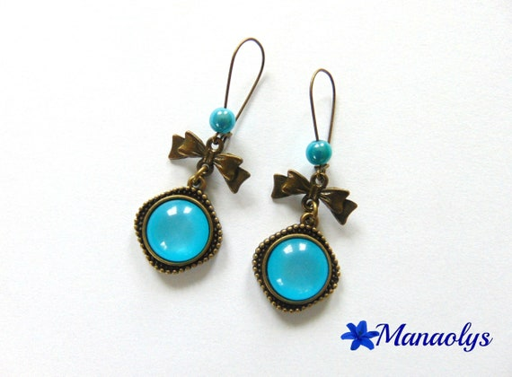 Earrings sleepers bronze vintage cabochon blue resin, knots and beads