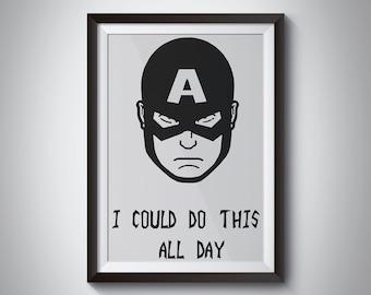 Captain America Black White Print, Art Print, Wall Art, Poster, Motivational Quote, marvel quote, Avengers