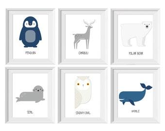 092-097 Arctic Animals | Arctic Nursery | Polar Bear Penguin Seal | Wall Print Nursery Decor | Choose Your Size | jpg & pdf file PRINTABLE