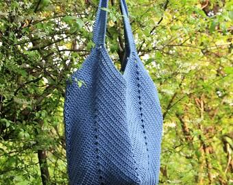 Crochet beach bag, Crochet rope bag, SteelBlue crochet market bag, Boho shoulder bag, Handmade summer bag, tote bag, Boho bag, Shopping bag