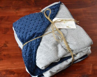 Weighted Blanket for Adults - Classic Navy and White Herringbone and Luxurious Complementing Minky (40x65 inches) - Adult Weighted Blanket