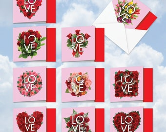 MQ5662OCB-B1x10 Blooming LOVE: 10 Assorted 'Square-Top' Blank, All Occasions Note Cards w/ Envelopes
