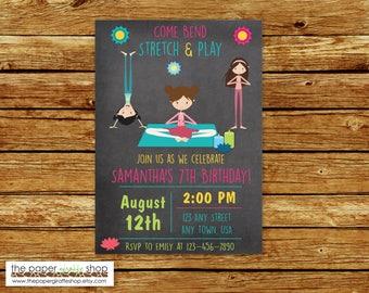 Yoga Invitation | Yoga Party Birthday Invitation | Yoga Birtday Invitation | Yoga Birthday Party | Yoga Party
