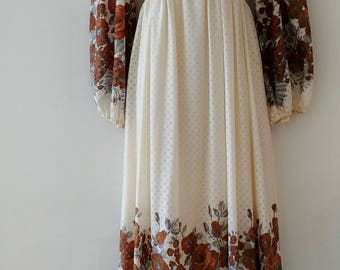 1970's Vintage Cotton Empire Waist Prairie Hippie Boho Long Maxi Dress w/ Long gathered sleeve with border print fabric and smocked bodice