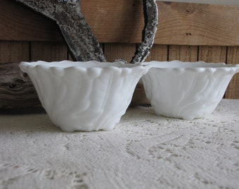 Vintage Milk Glass Wild Rose by Indiana Glass Two (2) Fruit Cocktail Bowls