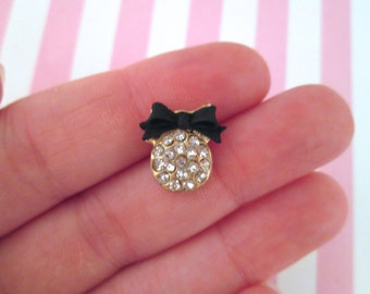 Black Bow iPhone Home Button Stickers, stick on rhinestone cabochon buttons #898