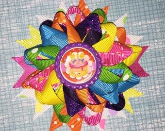 Shopkins Birthday Cake Inspired Hair Bow, Birthday Hair Bow, Rainbow Hair Bow