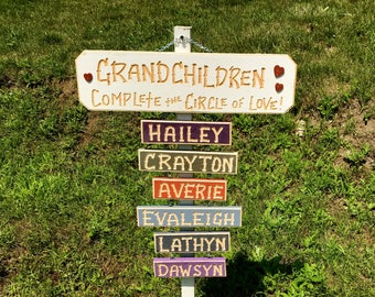 GRANDKIDS GRANDCHILDREN GRANDPA Carved  Circle of Love Wood Personalized Name Sign (42 dollars) with optional 6 dollar add-on names