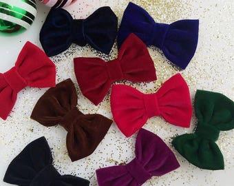 Velvet Bows - Baby Headband Bows - Nylon Headband - Velvet Bow Headbands - Velvet Bow Clips - Baby Girl Hair Bows