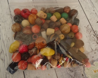 Mixed Lot of Vintage Small to Medium Size Wooden and Twined Beads, Multi Colored, 5 Oz.