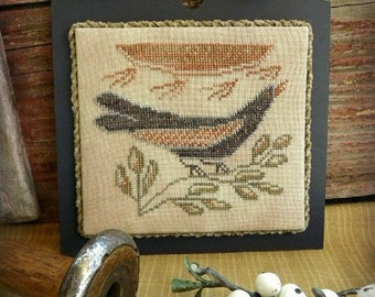 Primitive Cross Stitch Pattern - Sunbird Candle Board