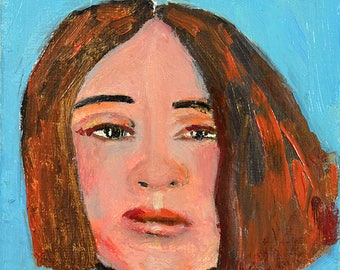 Miniature Oil Portrait Painting Original. Miniature Fine Art. Apartment Size.  Blue Small Wall Art.