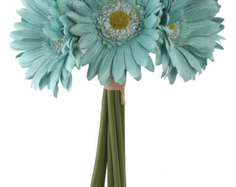 Aqua Blue Daisy Bouquet - Artificial Silk Bridal Wedding Bouquet