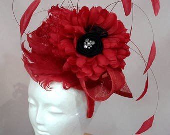 Red with Black and Diamontee detail Feathers Fascinator