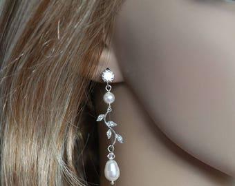 Handmade Vintage Inspired Cubic Zirconia CZ and Pearl Vine Dangle Earrings, Bridal, Wedding (Pearl-503)