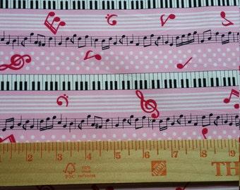 Pink white and polka dots keyboard piano fabric from Cosmo Japan Half Yard