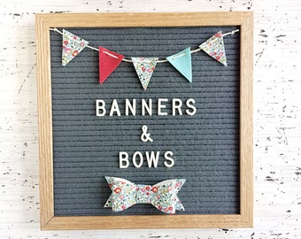Mini Felt Banner and Bow / Bow Tie for Your Letter Board - For Special Occasions or to Make Every Day Special