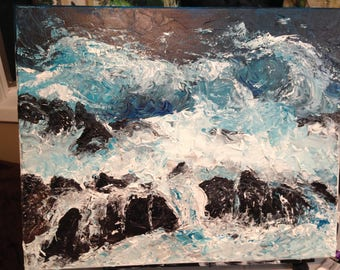 Scenic Original Acrylic pallet knife  Painting on Canvas of a crashing water.