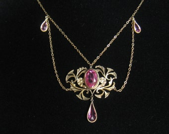 CLEARANCE Edwardian Festoon Vintage Necklace with Ruby Colored Glass Faceted Stones.