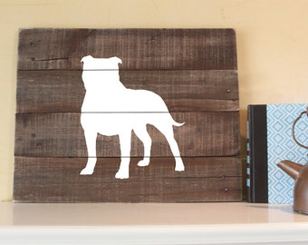 Pit Bull Silhouette - Reclaimed Wood Sign (Natural Ears), American Pit Bull Terrier, American Staffordshire, American Bulldog, bull terrier