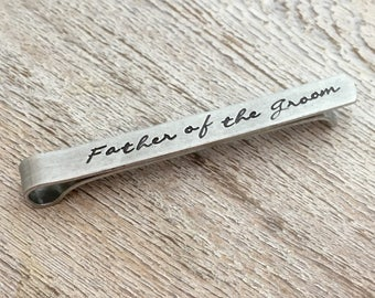 Father of the Groom Tie Clip - Father of the Groom Gift -  Script Tie Clips - Wedding Party Gifts - Tie Bars - Dad Gift