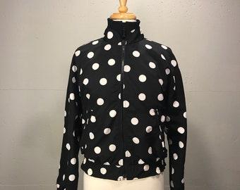 Liz Sport black and white polka dot bomber jacket  80s spring lightwight jacket elastic waist
