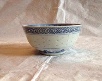Chinese Porcelain Rice Pattern Blue and White Rice Bowl ~ 1980s ~ Dragon Pattern