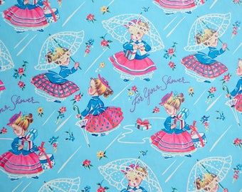 Vintage Wrapping Paper -  Little Girl Wedding Bridal Shower - 1950s Unused Sheet