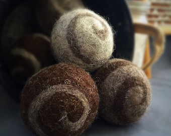 Ovella Wool Dryer Balls, The Lixo Swirl Collection. Set of three (3) natural color, swirls, brown, grey, classic, no dyes