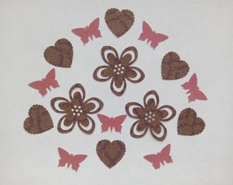 16 cut flowers, hearts and butterflies for your scrapbooking/cardmaking creations