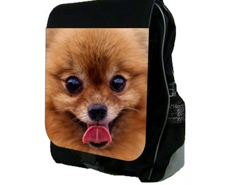 Pomeranian Puppy Face Large Black School Backpack
