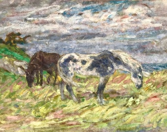 Horses in Northern France (antique oil painting)