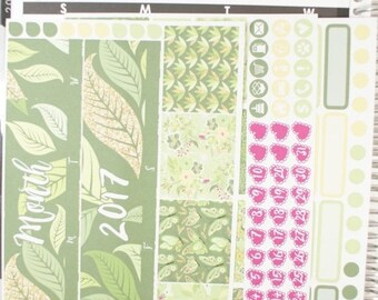 35% OFF Memorial Sale Mother Nature (Leaves) Monthly View Planner Stickers (NF477) High Gloss, Semi-Gloss, Matte Planner Stickers