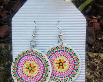 Hand Painted MANDALA Pendant earrings