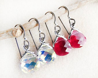 Swarovski Earrings, Ruby Red, Brilliant Crystal, Niobium Earwires, Silver, Non-allergenic, Hypoallergenic, Handmade Jewelry, Gift for Woman