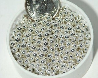 3mm Silver Plated Round Smooth Metal Beads 500 pc Lead Free