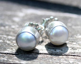 Pearl earrings /  pearl studs / sterling silver earrings / bridesmaid gift / gift for her / rustic wedding / freshwater pearls / sale
