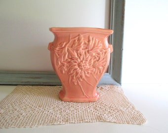 Vintage McCoy Art Pottery McCoy Pink Vase Chrysanthemum Design 1940's