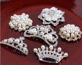 Rhinestone Button Flatback Embellishment Pearl Crystal Wedding Brooch Hair Comb