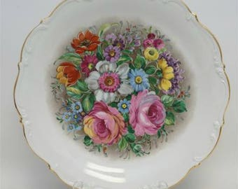 Vintage Platter, Porcelain Floral Serving Charger by Hutschenreuther, Tirschenreuth 1838 Mark, Gold Trim Scallop Rim, 12 Inch, Circa 1970s