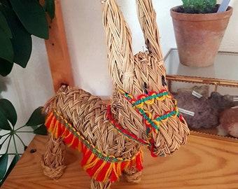 Vintage straw donkey