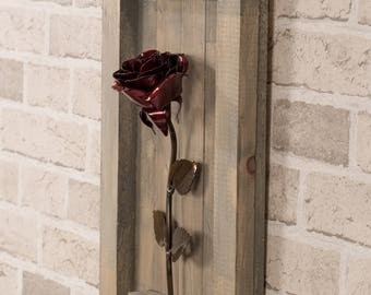 Metal Rose • Wood Hanging • Red • Iron Anniversary • 6th Anniversary • Hand Forged • Wrought Iron • Blacksmith • Personalized Gift