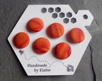 Fabric Covered Buttons - 6 x 19mm Buttons, Handmade Button, Red Planet Mars Jupiter Ombre Fire Red Pumpkin Orange Vermillion Buttons, 2494