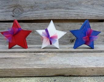 Summer Decor - USA Decor - Americana decor - 4th of July Decor - Star Decor - Set of 3 stars