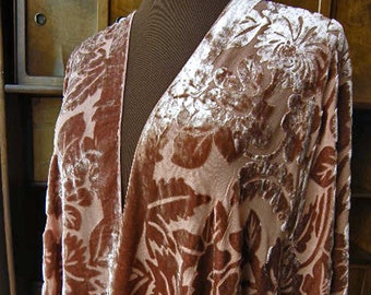 Velvet Kimono, Burnout Jacket, Wearable Art, Burnout Kimono, Duster Jacket, Vintage Brown Floral Silk Velvet Burnout Fringe Kimono Cover Up