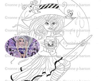 Midnight Ride - Witch - Kitten - Mice  - Coloring Page - Printable - Digi Stamp - Instant Digital Stamp Download - Ronne Barton Art