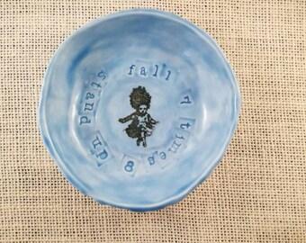 Ceramic, porcelain inspirational ring bowl, blue, girl,