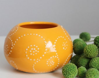 Ceramic Vase Orange- Porcelain Vase Round Dots