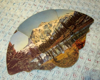 Vintage 50s Advertising Folding Paper Hand Fan with Mountain Scene from Arlington, Nebraska